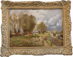 English Landscape, Impressionist landscape with horse and figures by a canal