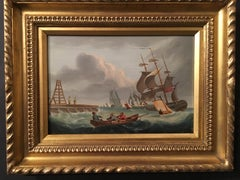 English shipping scene with sale boats, war ships and a quayside harbor.