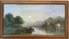 Victorian 19th century Moonlight landscape with river, fishermen and a watermill
