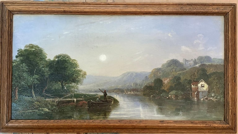 J.Barclay Landscape Painting - Victorian 19th century Moonlight landscape with river, fishermen and a watermill