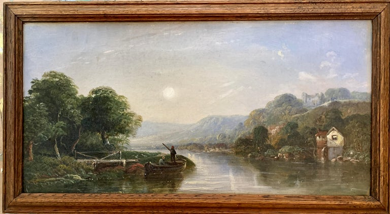 Victorian 19th century Moonlight landscape with river, fishermen and a watermill - Painting by J.Barclay