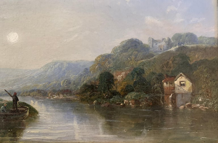 Victorian 19th century Moonlight landscape with river, fishermen and a watermill - Gray Landscape Painting by J.Barclay