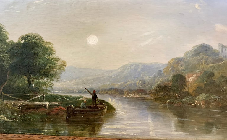 Victorian 19th century Moonlight landscape with river, fishermen and a watermill.  J.Barclay was the pseudonym for the illustrator Horace Hammond who lived in Birmingham. Most of his scenes are in watercolor but he was also known to paint in