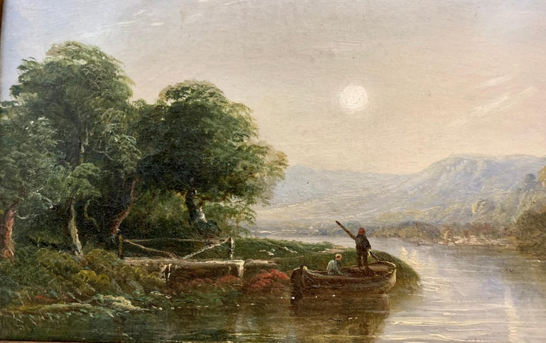 Victorian 19th century Moonlight landscape with river, fishermen and a watermill For Sale 1