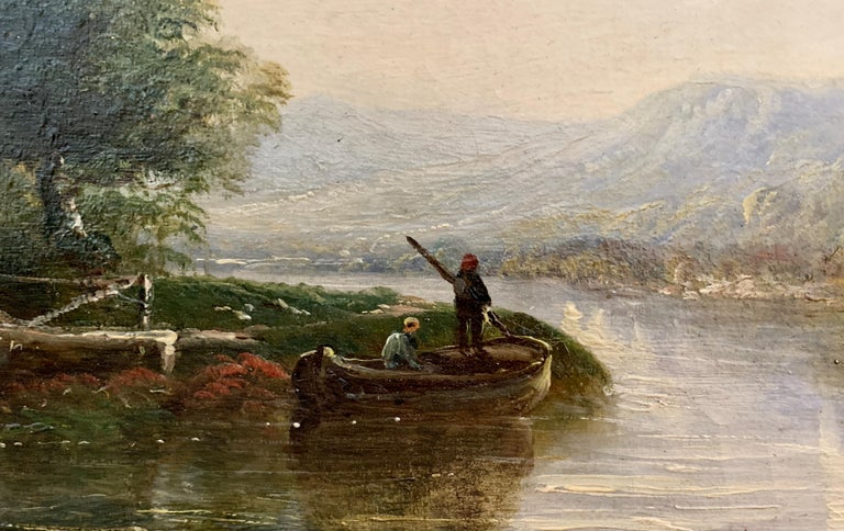 Victorian 19th century Moonlight landscape with river, fishermen and a watermill For Sale 2