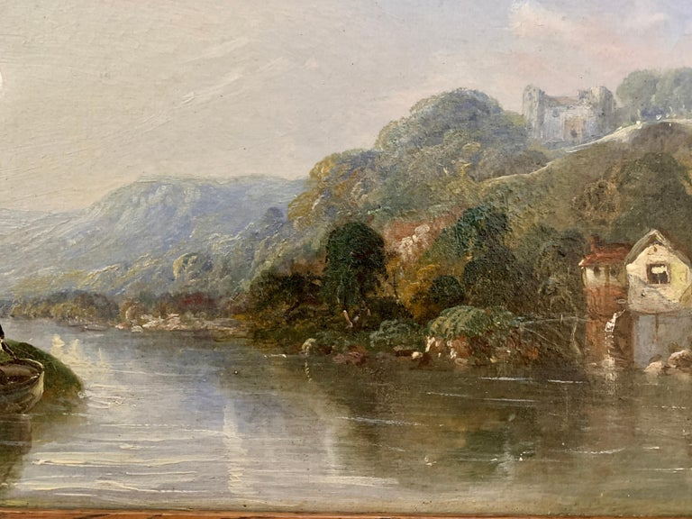 Victorian 19th century Moonlight landscape with river, fishermen and a watermill For Sale 3