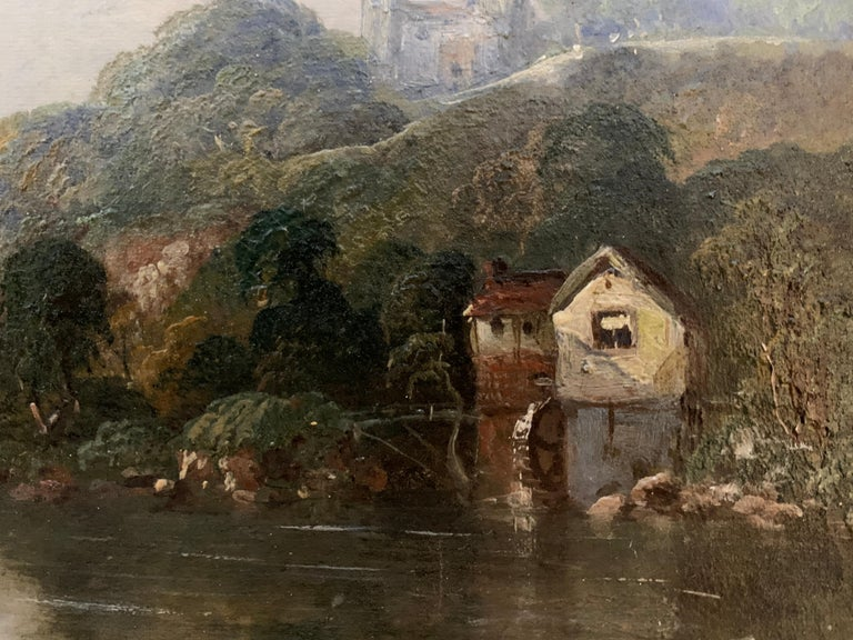 Victorian 19th century Moonlight landscape with river, fishermen and a watermill For Sale 4