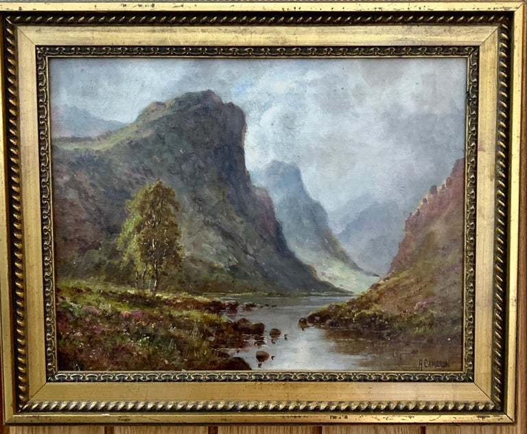 A.Cameron Figurative Painting - Scottish or Welsh 19thC Highland River landscape, with heather and Aspen trees