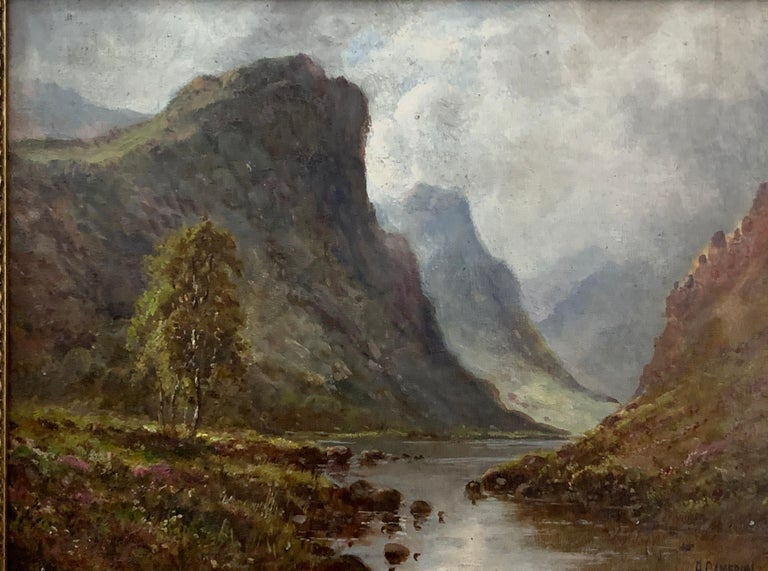 Scottish or Welsh 19thC Highland River landscape, with heather and Aspen trees - Painting by A.Cameron