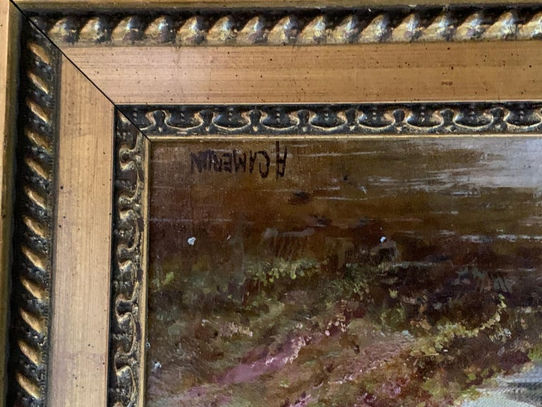 Scottish or Welsh 19thC Highland River landscape, with heather and Aspen trees - Victorian Painting by A.Cameron