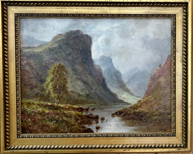 Scottish or Welsh 19thC Highland River landscape, with heather and Aspen trees - Brown Figurative Painting by A.Cameron