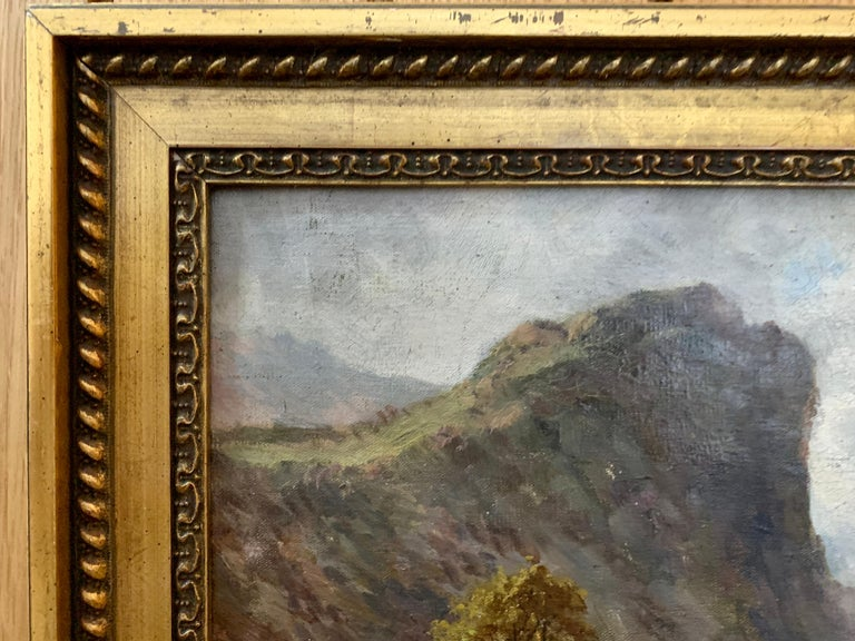 Scottish or Welsh 19th Century Highland River landscape, with heather and Aspen trees.  A classic 19th century river landscape with great color, brush strokes and atmosphere. Cameron mostly painted landscapes scenes in the Highlands of Scotland and