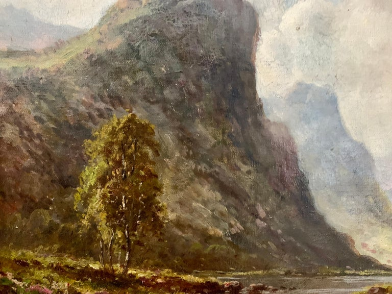 Scottish or Welsh 19thC Highland River landscape, with heather and Aspen trees For Sale 1