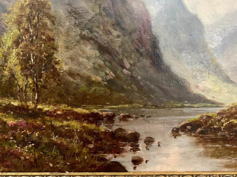 Scottish or Welsh 19thC Highland River landscape, with heather and Aspen trees For Sale 2
