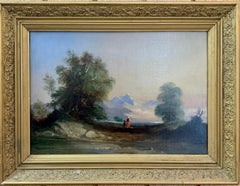 Landscapes with trees, pair of English or Irish 19th century landscapes