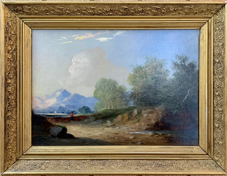 Landscapes with trees, pair of English or Irish 19th century landscapes - Painting by Follower of James Arthur O'Connor