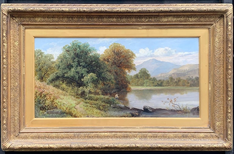 Thomas Stanley Barber Figurative Painting - English River Landscape with fisherman, 19th century, in Dolgellau, North Wales