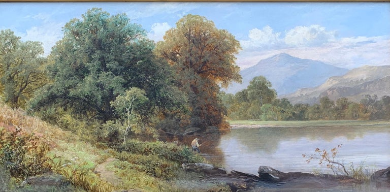 English River Landscape with fisherman, 19th century, in Dolgellau, North Wales - Painting by Thomas Stanley Barber