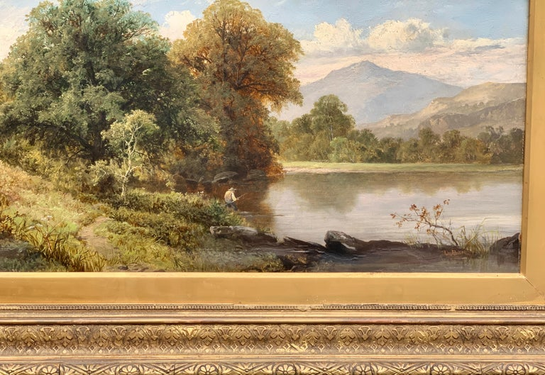 English River Landscape with fisherman, 19th century, in Dolgellau, North Wales - Victorian Painting by Thomas Stanley Barber