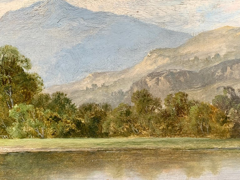 Victorian English River Landscape with fisherman, 19th century, in Dolgellau, North Wales  THOMAS STANLEY BARBER, who died in 1899, was a London landscape artist, who lived at 36 Riverdale Road, Highbury in North London. He exhibited one painting at