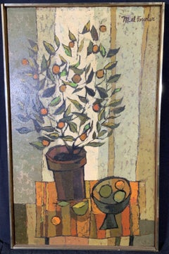 Mid Century Cubist Still life of flowers, fruit, orange table cloth 1960's