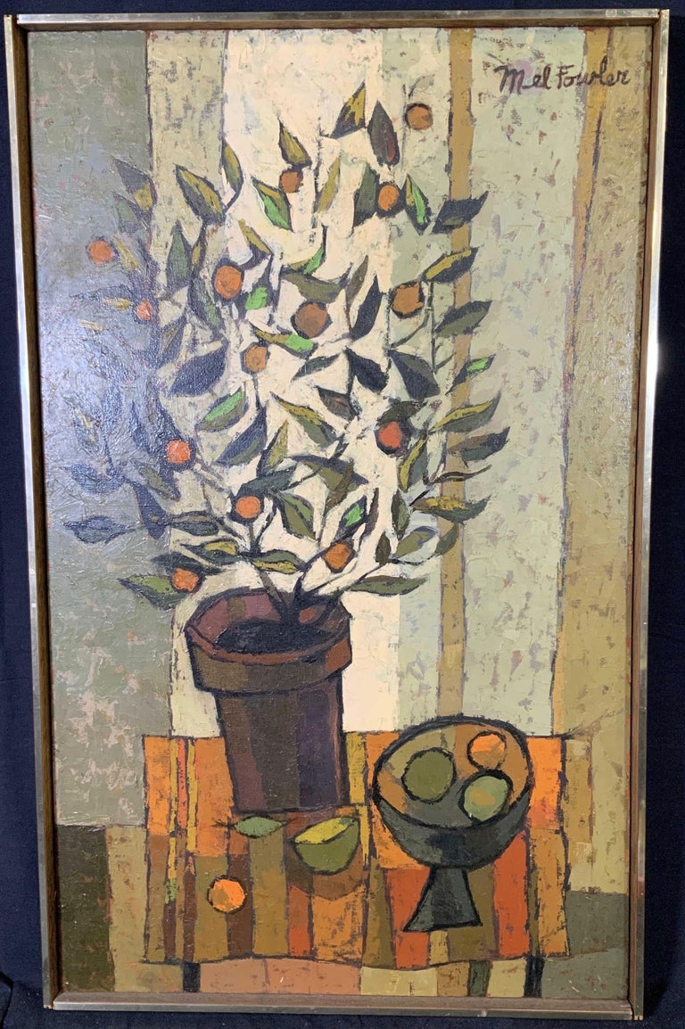 Mel Fowler Abstract Painting - Mid Century Cubist Still life of flowers, fruit, orange table cloth 1960's
