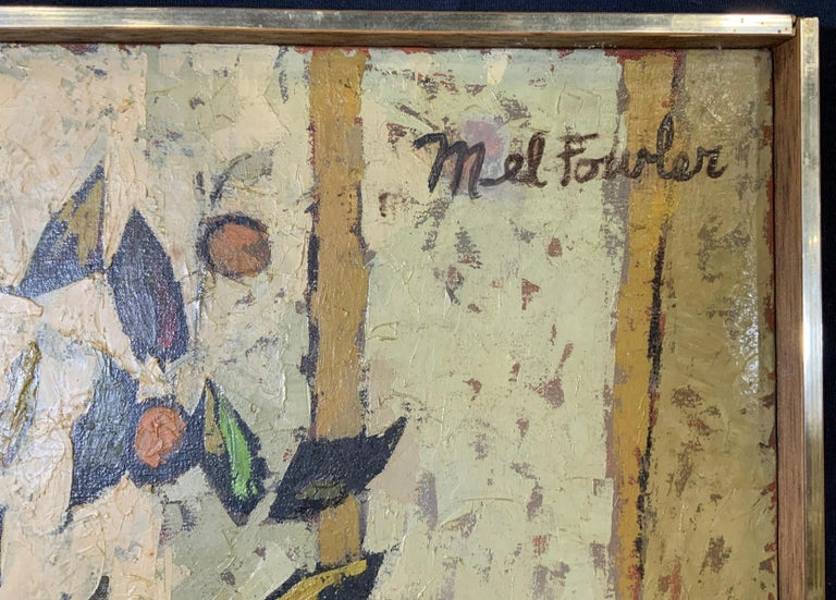 Mid Century Cubist Still life of flowers, fruit, orange table cloth 1960's - Painting by Mel Fowler