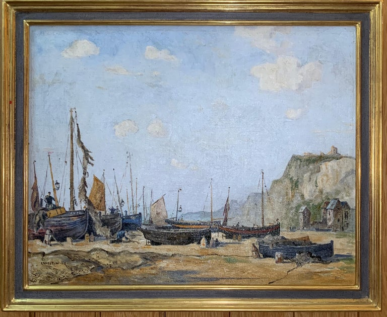 Ernest Wills Landscape Painting - English mid century beach and landscape scene, with fishing boats and fishermen