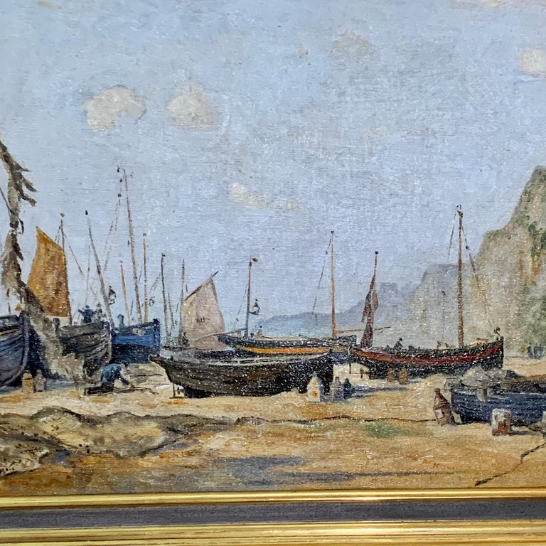 English mid century beach and landscape scene, with fishing boats and fishermen - Painting by Ernest Wills
