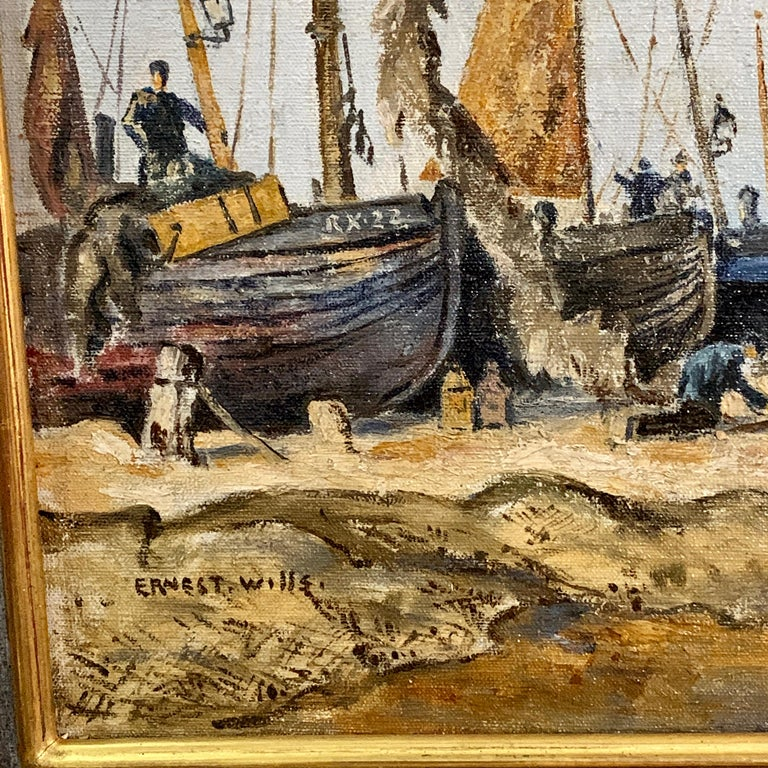 English mid century beach and landscape scene, with fishing boats and fishermen - Impressionist Painting by Ernest Wills