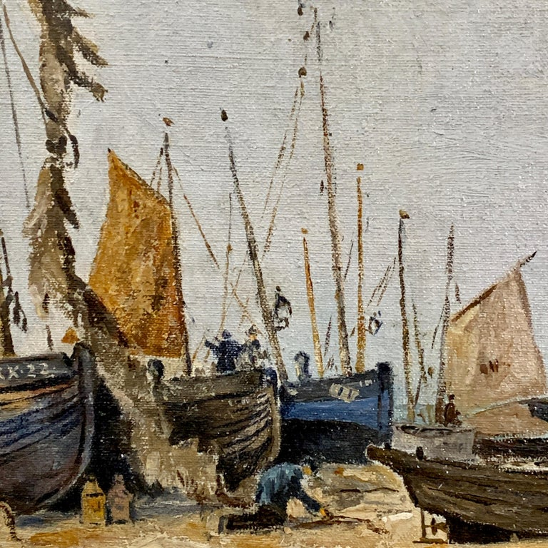 English mid century beach and landscape scene, with fishing boats and fishermen - Gray Landscape Painting by Ernest Wills