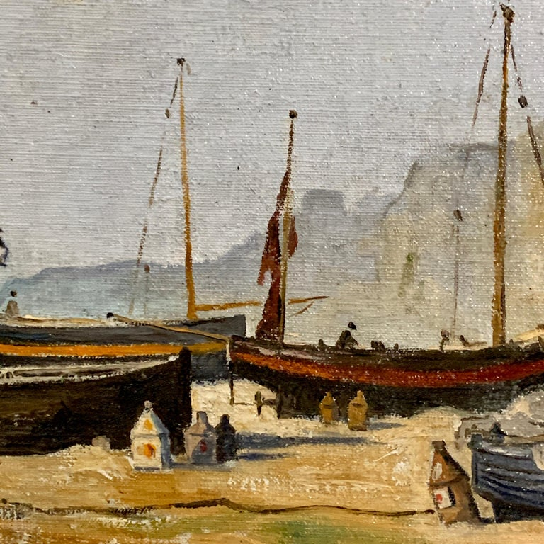 English mid century beach and landscape scene, with fishing boats and fishermen  Ernest Wills was an English painter from the 1930-1960 period in England. He lived and painted in and around the Kent area, often painting the coastal towns such as