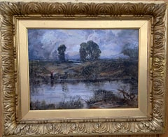A Cloudy Day, English Impressionist River Landscape with figure and cottage