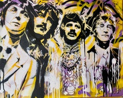 Pop Art Portrait of the Beatles music group in Graffiti, street art style