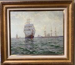 English 20th century Impressionist marine scene with yachts, sailing boats,