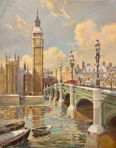 Big Ben in London with London Bridge in the snow, by the River Thames, England