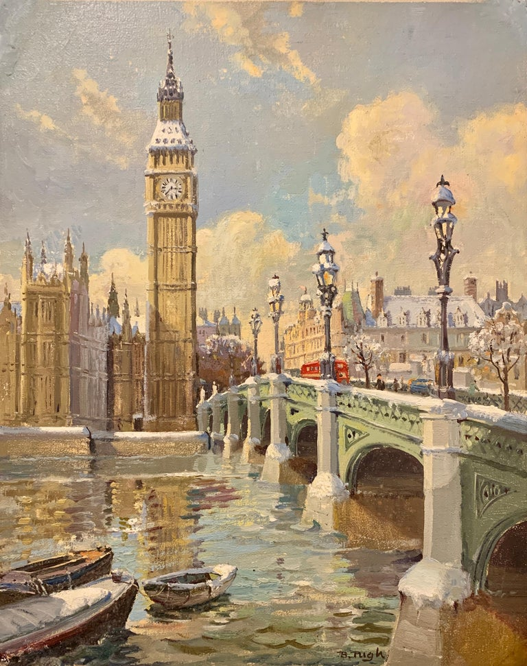 Bert Pugh Figurative Painting - Big Ben in London with London Bridge in the snow, by the River Thames, England
