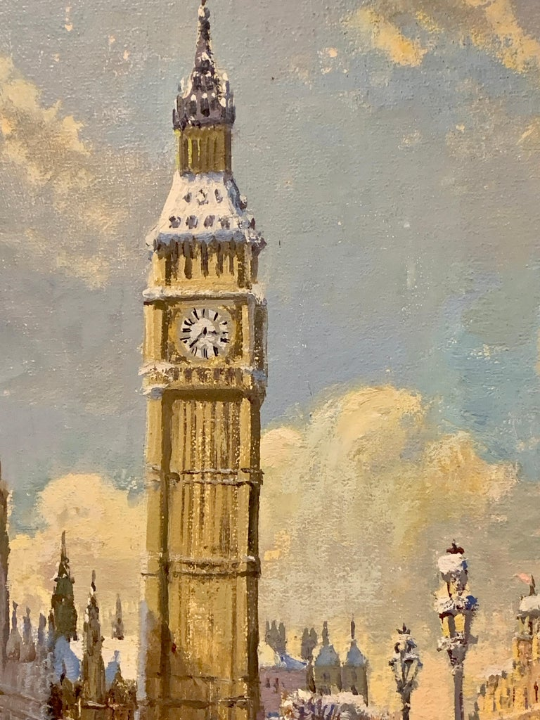 Big Ben in London with London Bridge in the snow, by the River Thames, England - Painting by Bert Pugh