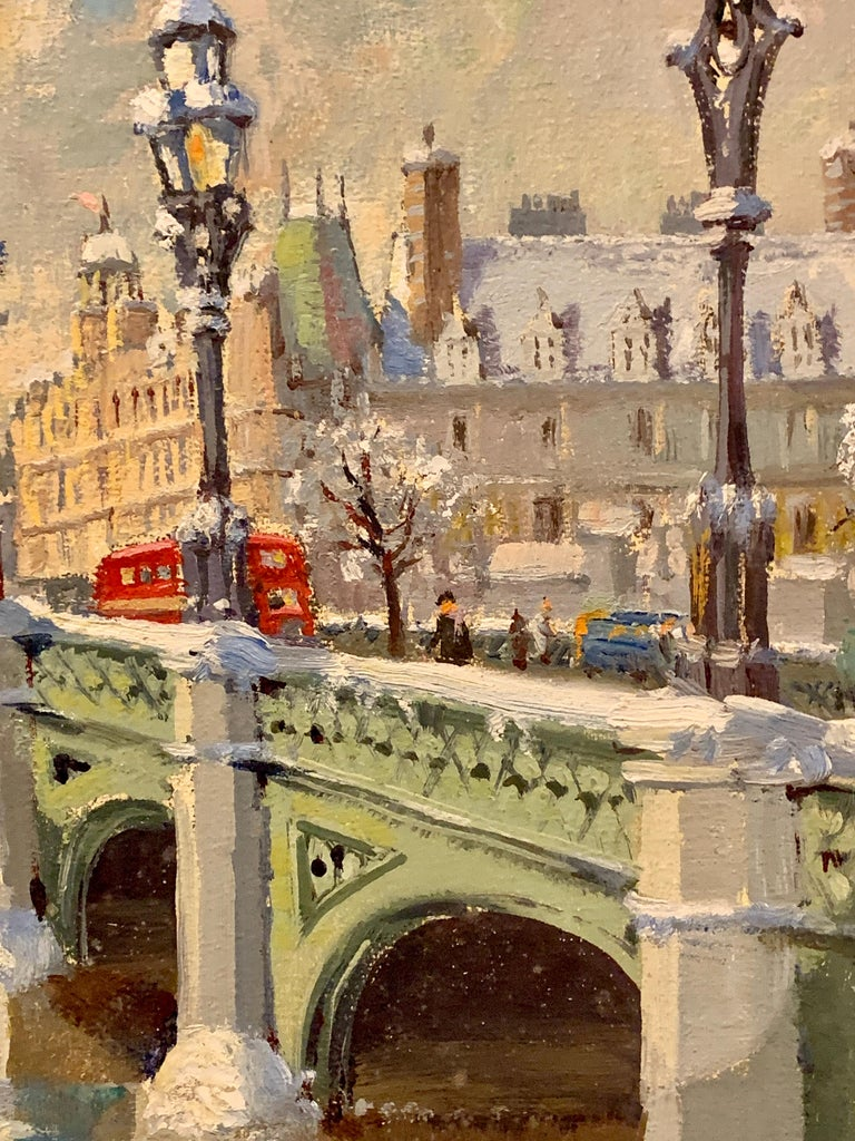 Big Ben in London with London Bridge in the snow, by the River Thames, England - Realist Painting by Bert Pugh