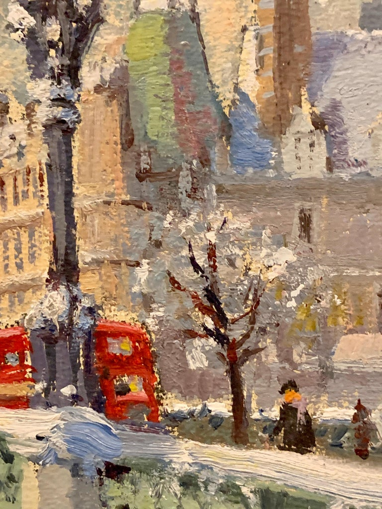 Big Ben in London with London Bridge in the snow, by the River Thames, England - Brown Figurative Painting by Bert Pugh