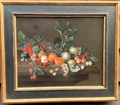 Dutch old master still life of fruit, with plums, Cherries, Raspberries etc