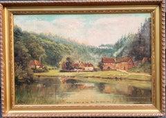 English 19th century Victorian landscape, Village scene, Leith Hill, Surrey UK