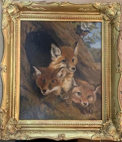 19th century Victorian English study of Fox cubs in a landscape, with a Robin