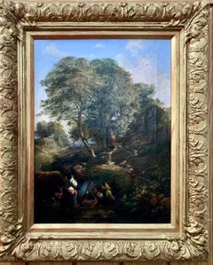 19th century English forest landscape with figures by a fire side, mid afternoon