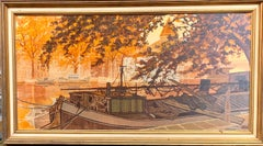 Mid Century Dutch canal city scene, in brown, orange black and white