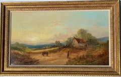 19th century English Victorian landscape with cottage and figure, horse and cart