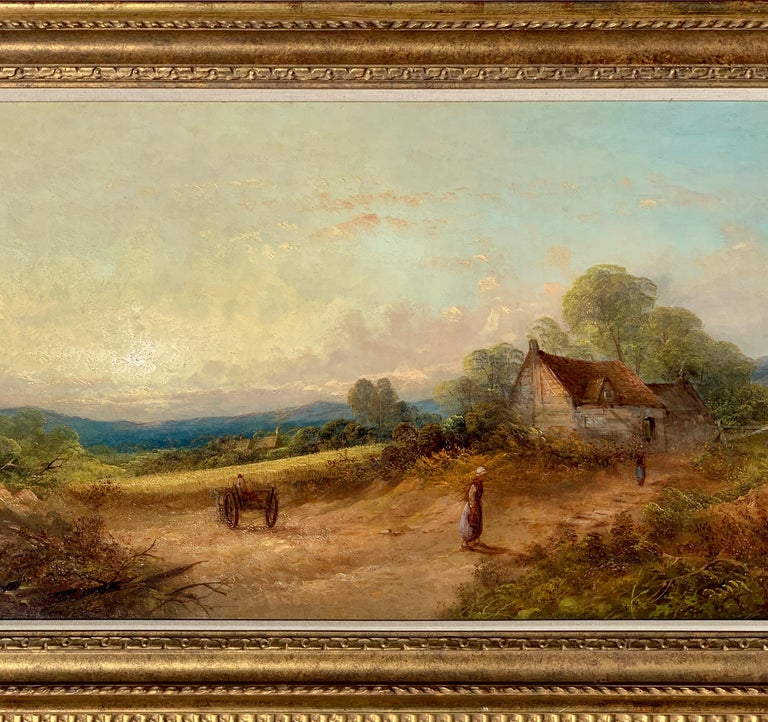 19th century English Victorian landscape with cottage and figure, horse and cart - Painting by R.Stubbs