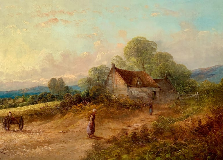 19th century English Victorian landscape with cottage and figure, horse and cart - Brown Figurative Painting by R.Stubbs