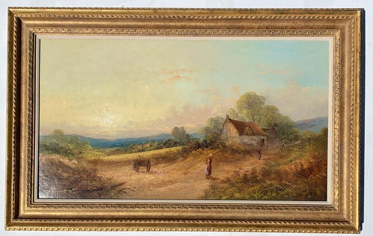 English 19th century Victorian landscape with cottage and figures.  Stubbs was an English late 19th-century landscape painter. His paintings were always full of color and well painted. It seems he didn't exhibit his work and would have been a