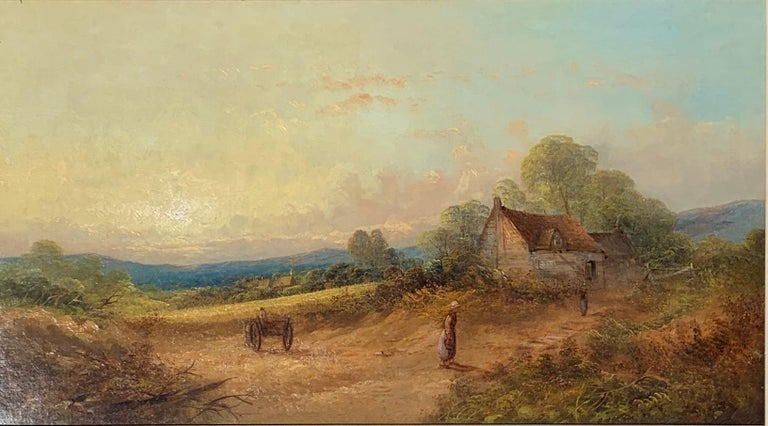 19th century English Victorian landscape with cottage and figure, horse and cart For Sale 1